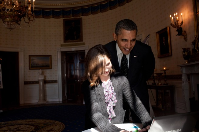 Hannah Wyman and President Barack Obama - USA